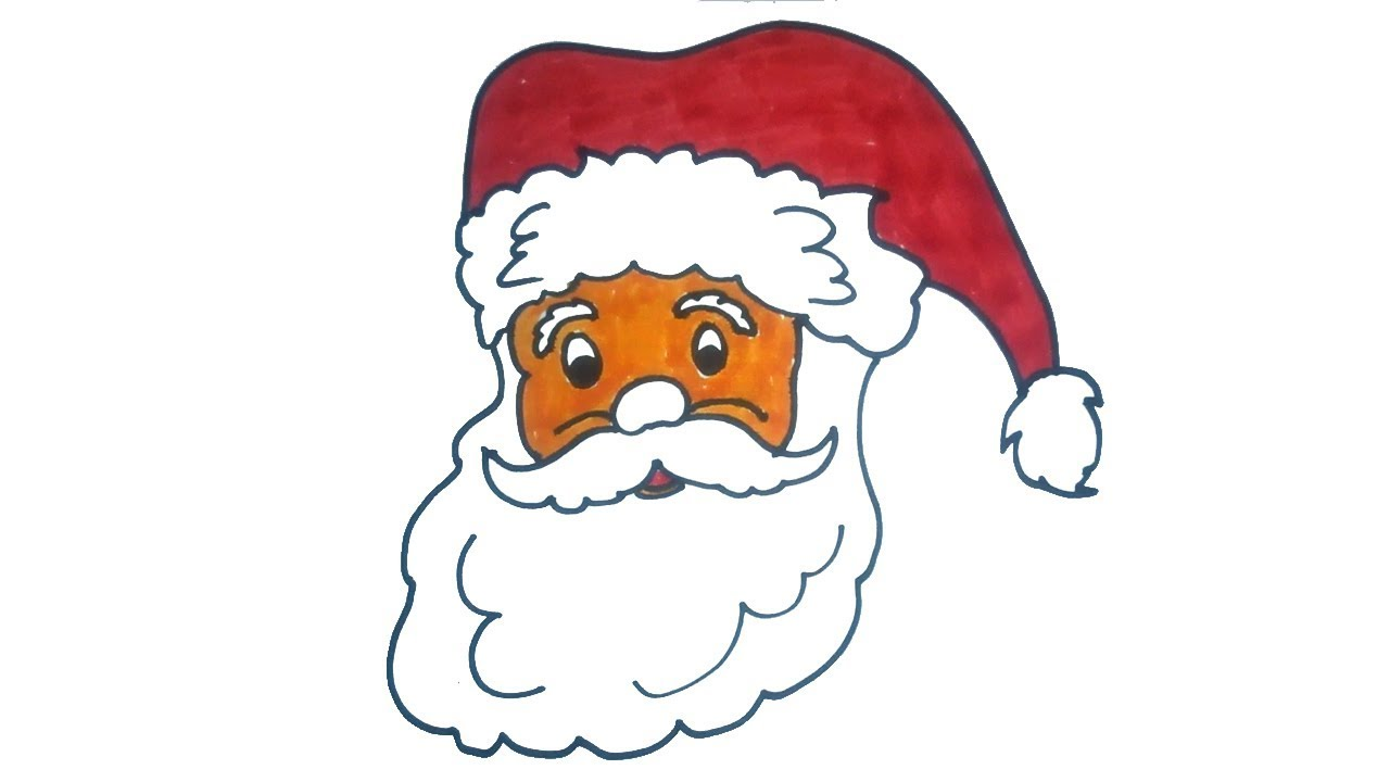 1280x720 Santa Claus Face Drawing How To Draw Santa Claus Step By Step