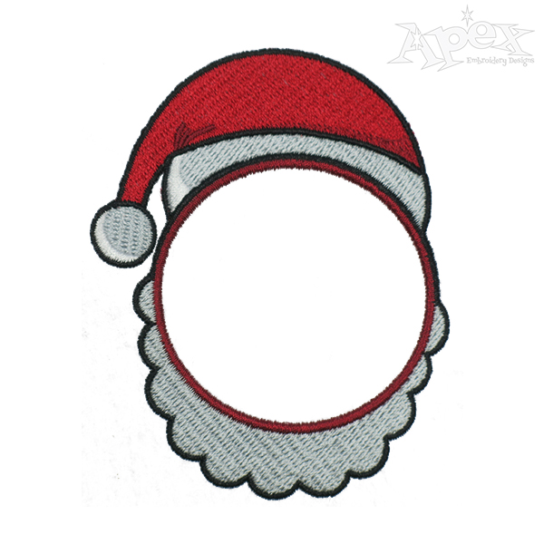600x600 Santa Claus Face Monogram Embroidery Frame