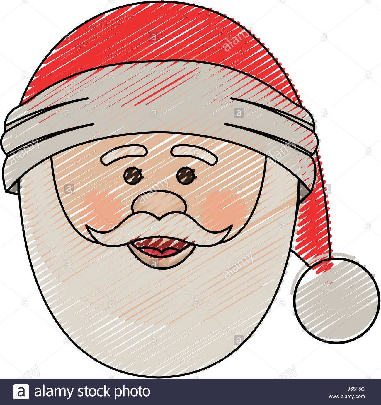 1300x1384 Color Crayon Stripe Cartoon Of Santa Claus Face With Christmas Hat