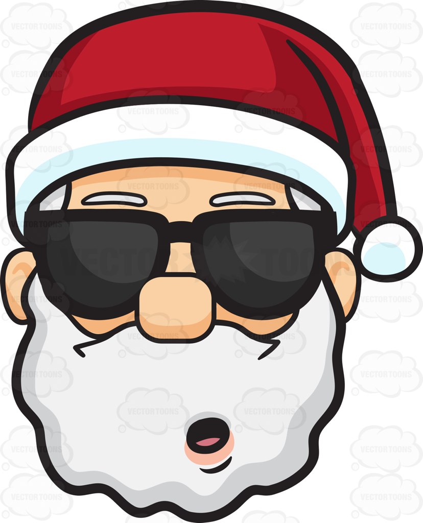 828x1024 A Stunned Face Of Santa Claus In Shades Cartoon Clipart