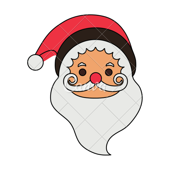 550x550 Color Image Cartoon Front View Face Santa Claus