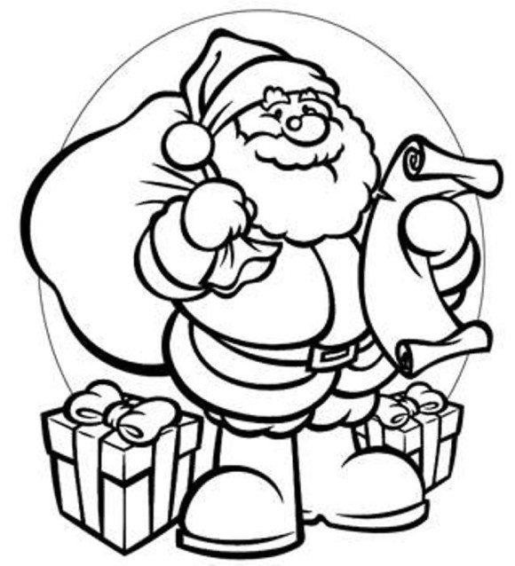 580x638 coloring pages of santa claus and gifts christmas coloring pages