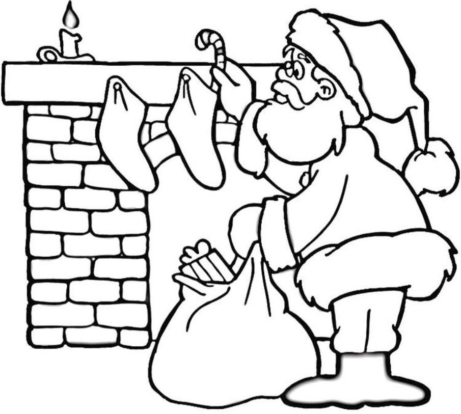 905x813 coloring pages of santa near fireplace christmas coloring pages