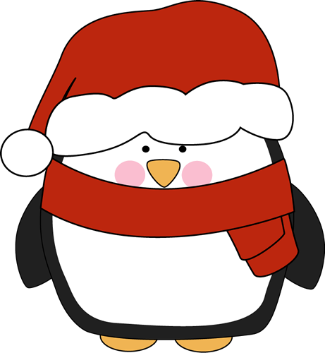 461x500 Penguin In Santa Hat Cliprt Penguin With Rosy Cheeks Wearing