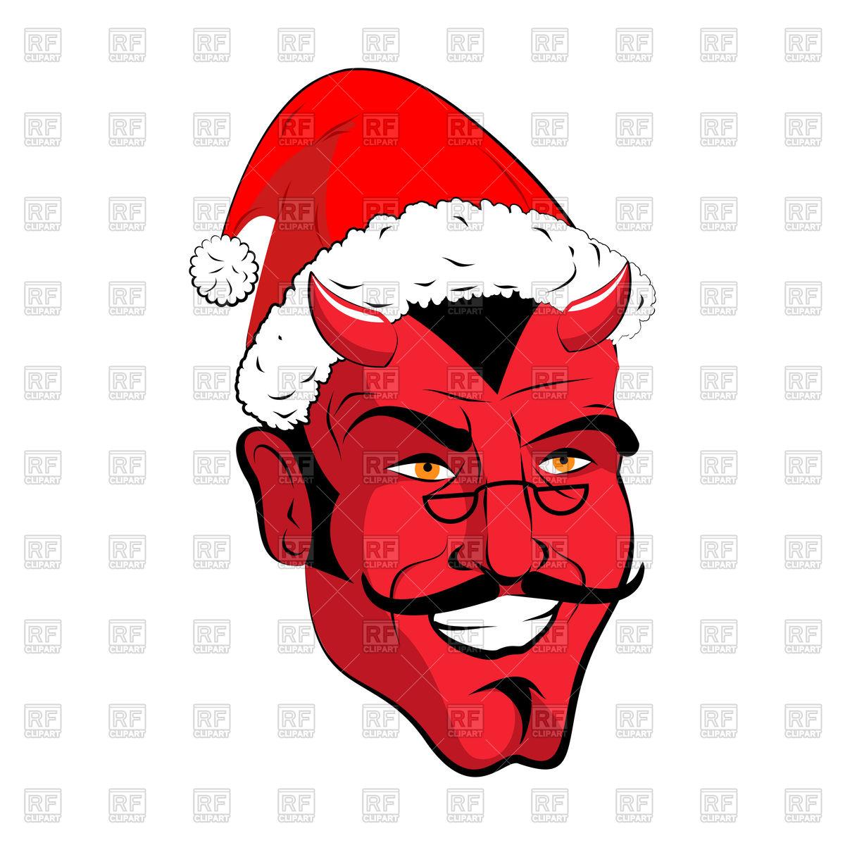 1200x1200 Satan Santa Head, Red Demon With Santa Hat Royalty Free Vector
