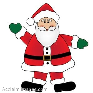 300x300 Clip Art Of Santa Claus Wearing Mittens And Waving
