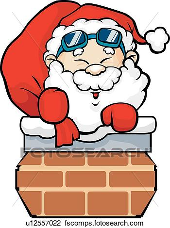 350x470 Clip Art Of Santa Is Going Down The Chimney U12557022