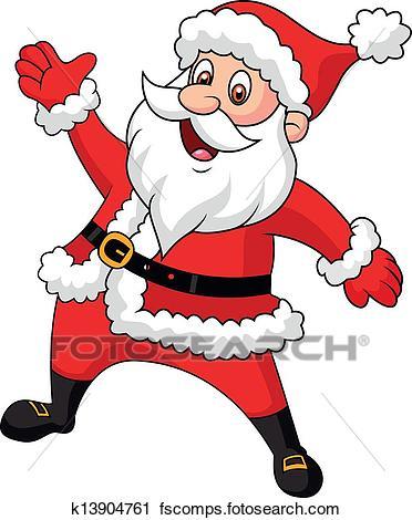 372x470 Clipart Of Santa Clause Cartoon Waving Hand K13904761