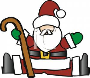 300x258 Of Santa Claus Wearing Green Mittens,sitting With His Legs Apart