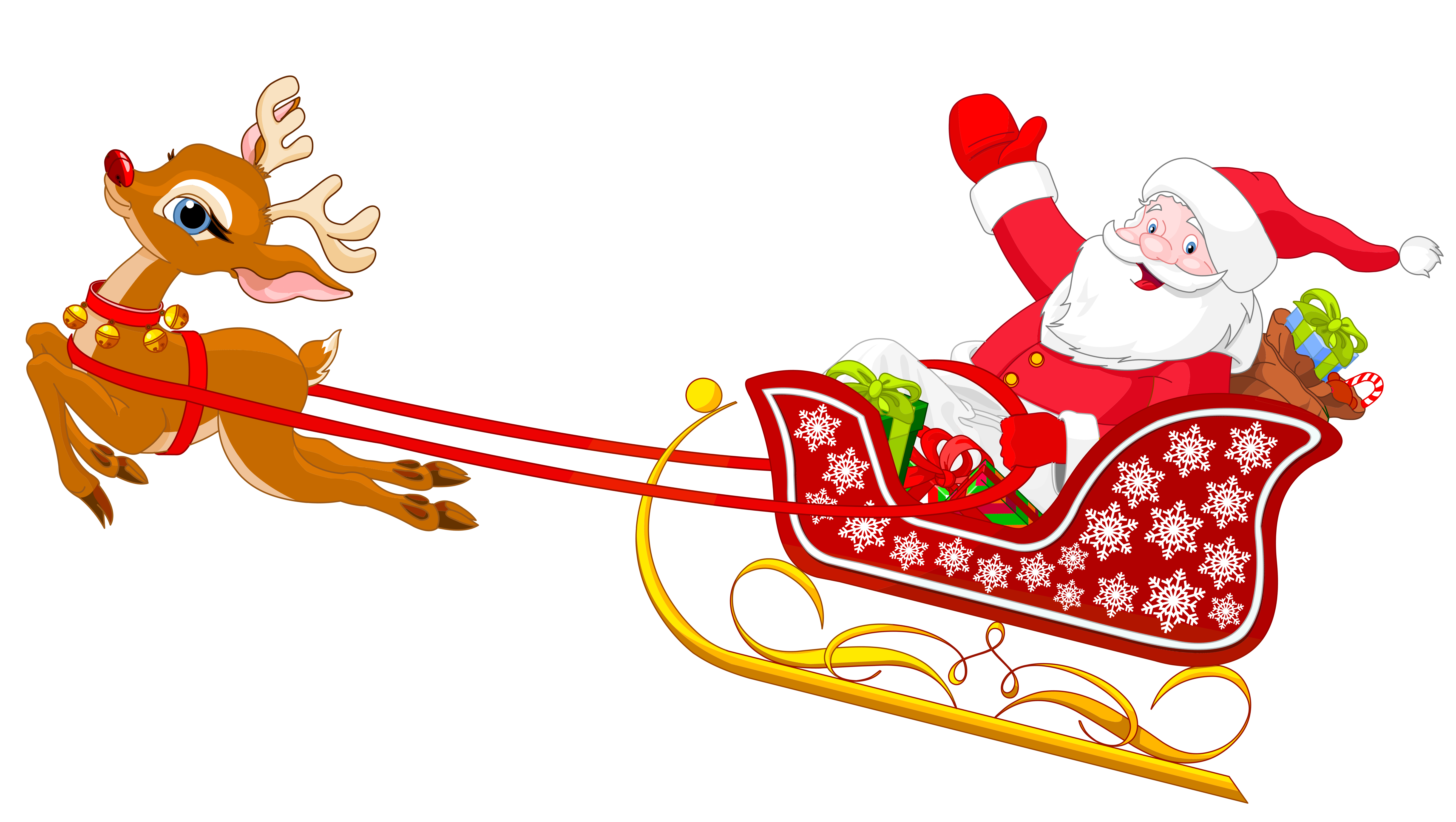 6337x3579 Free Santa And Reindeer Clipart