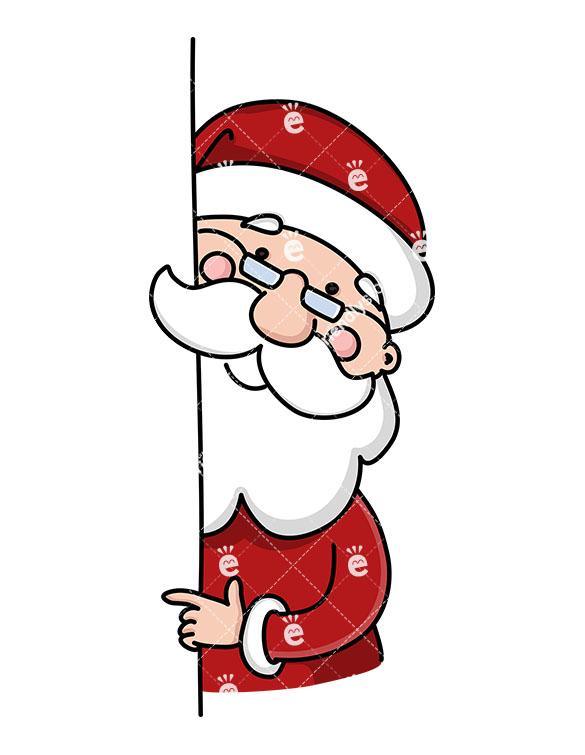 585x755 Santa Claus Behind A Wall Pointing Sideways Vector Clipart