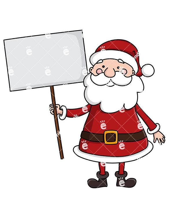 585x755 Santa Claus Holding A Blank Sign Vector Clipart