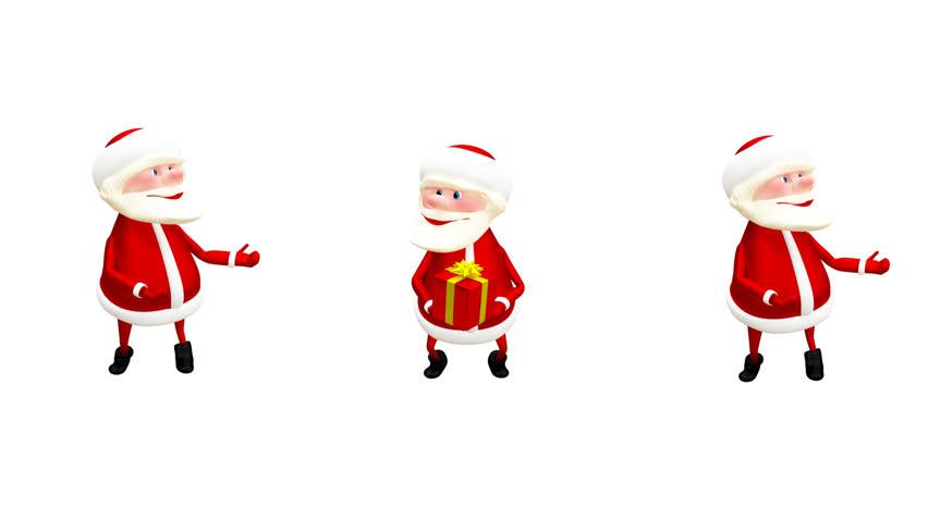 852x480 Santa Claus Walks On A Black Background 2d Seamless Loop Animation