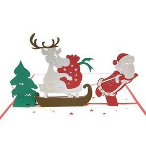 300x300 Santa Pulling The Sleigh 3d Pop Up Christmas Card Ebay