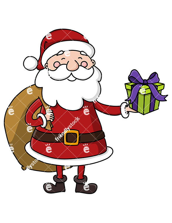 585x755 Santa With A Gift Bag On His Back, Holding A Present Clipart