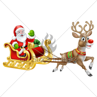 325x325 santa reindeer sleigh cartoon christmas scene gl stock images - Santa And The Reindeer