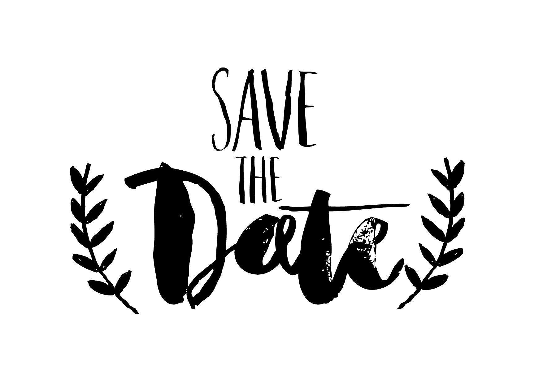 1754x1240 Save The Date Png Black And White Transparent Save The Date Black