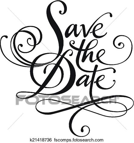 441x470 Clip Art Of Save The Date K21418736