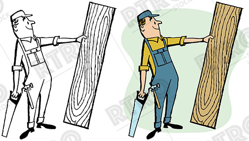 504x286 A Carpenter Holds A Large Piece Of Wood And His Saw Vintage Retro