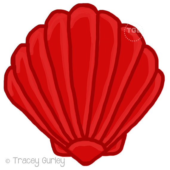 570x570 Red Scallop Shell Original Art Download 2 Files Scallop