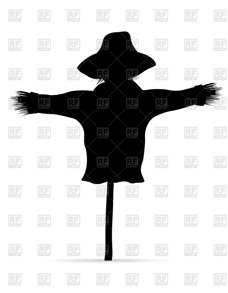 933x1200 Black Silhouette Of Scarecrow Royalty Free Vector Clip Art Image