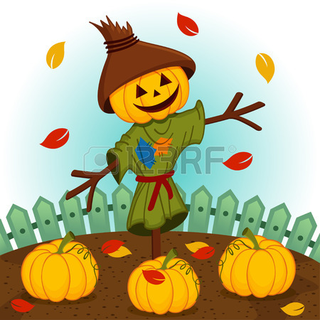 450x450 Scarecrow With A Pumpkin Head Royalty Free Cliparts, Vectors,
