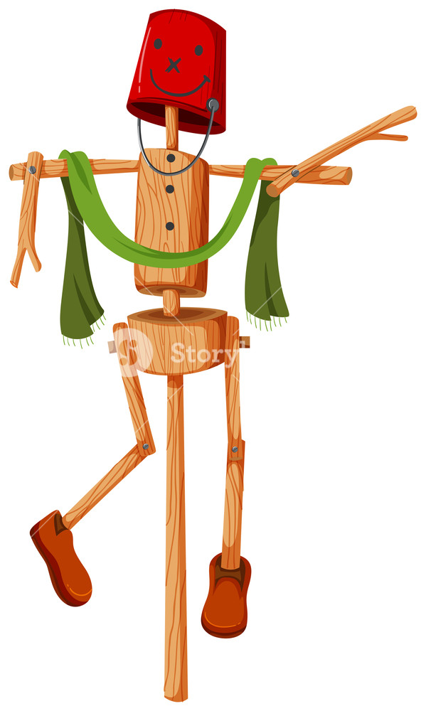 599x1000 Wooden Scarecrow With Red Bucket Face Illustration Royalty Free