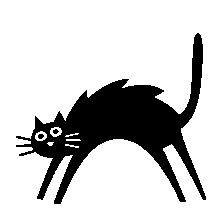 214x218 Black Cat Clipart Scared