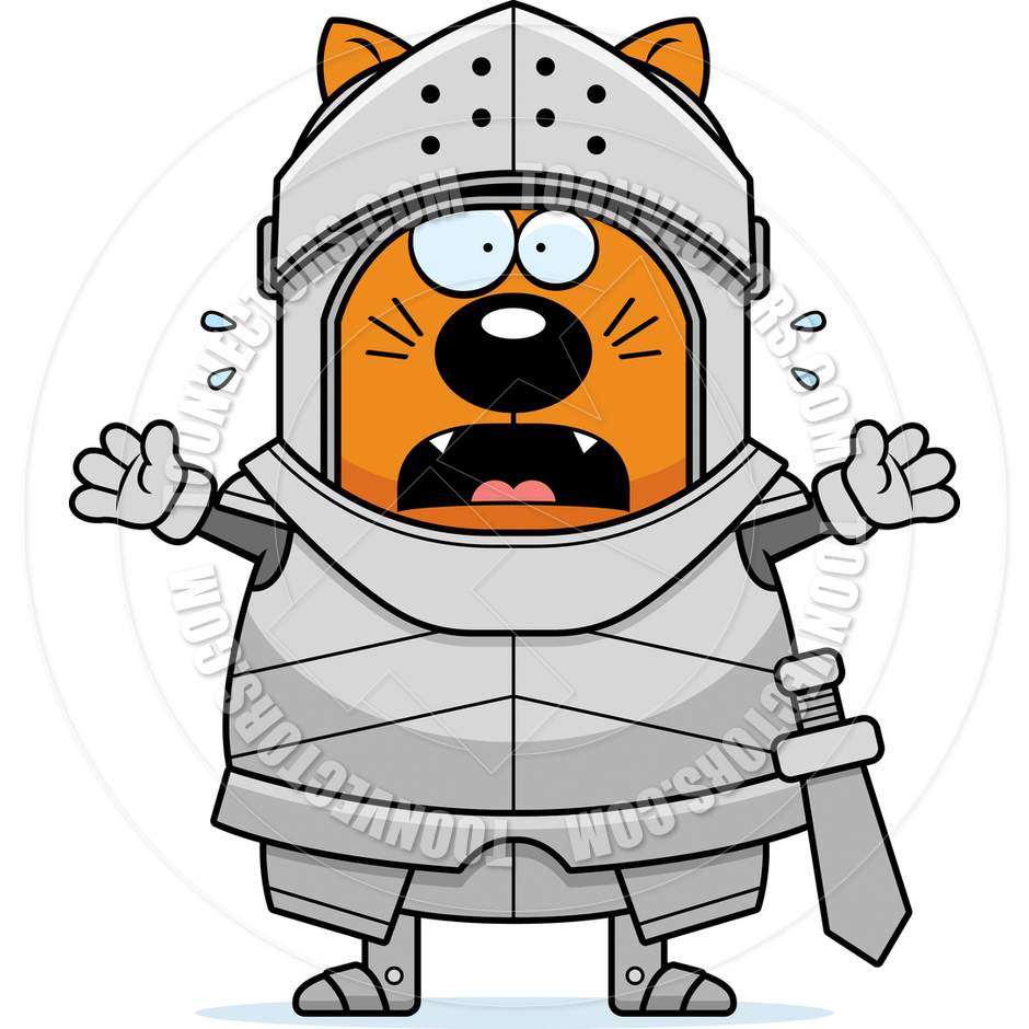 940x940 Cartoon Cat Knight Scared By Cory Thoman Toon Vectors Eps