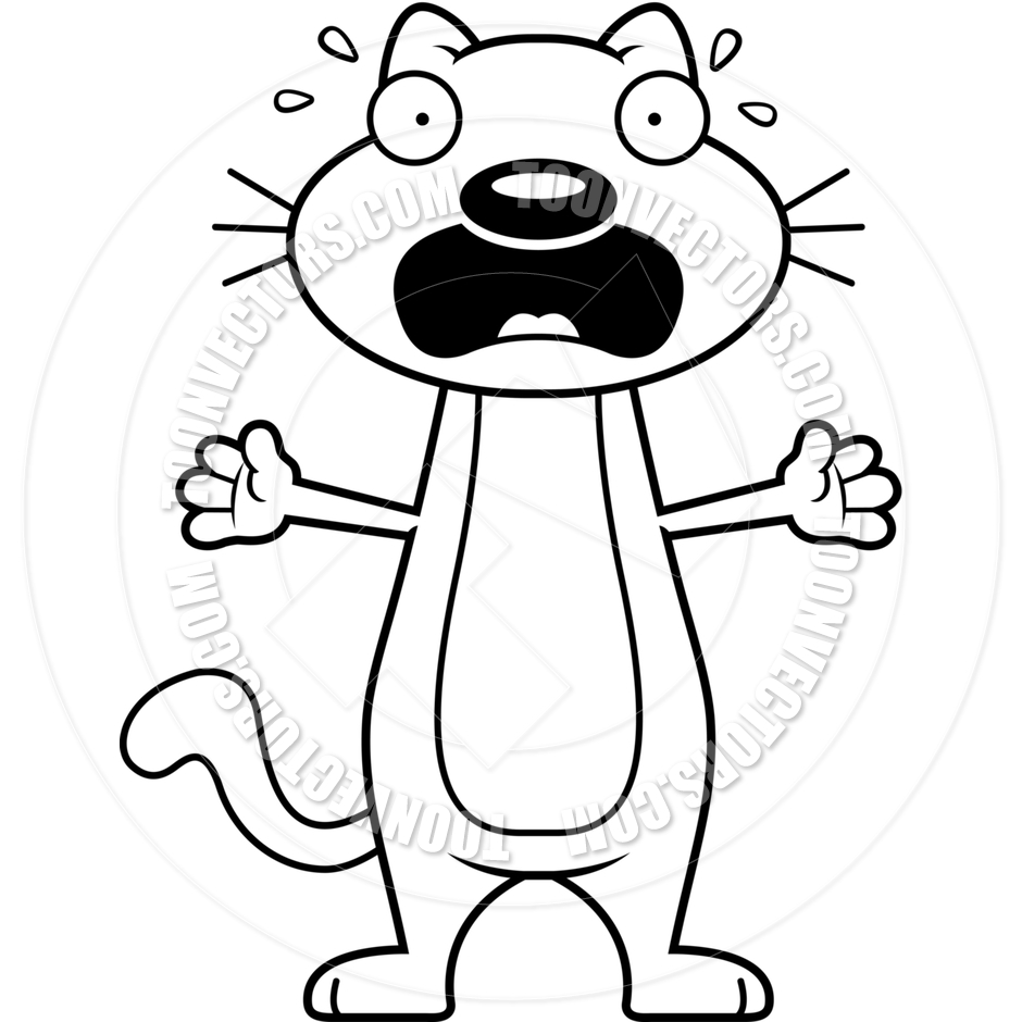 940x940 Cartoon Cat Scared (Black And White Line Art) By Cory Thoman