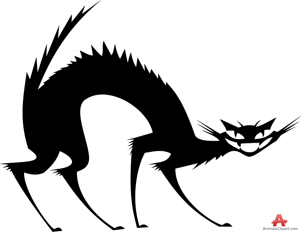 999x771 Scared Cat Silhouette Free Clipart Design Download
