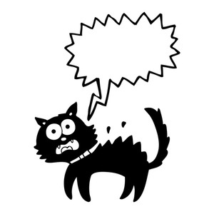 300x300 Freehand Drawn Cartoon Scared Black Cat Royalty Free Stock Image