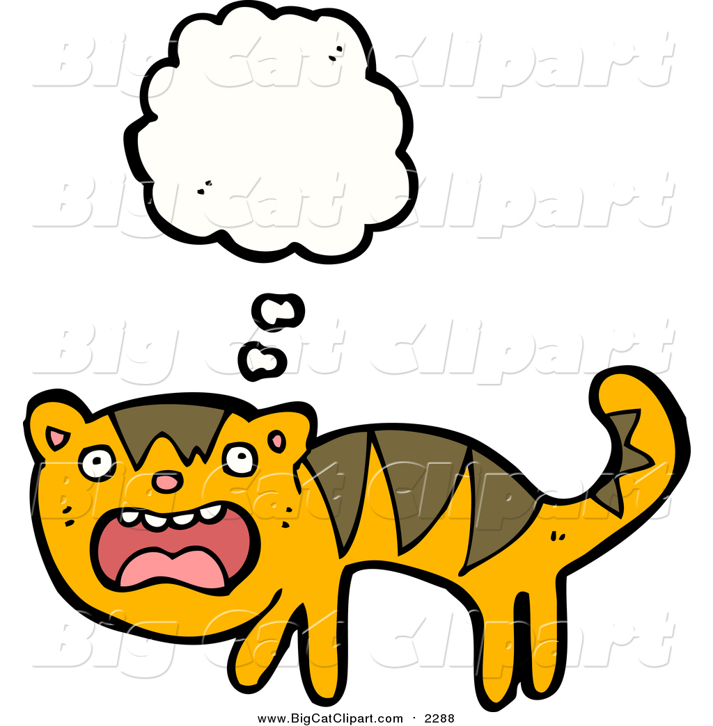 1024x1044 Big Cat Cartoon Vector Clipart Of A Thinking Scared Tiger By