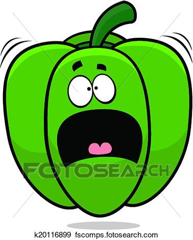 378x470 Clip Art Of Scared Cartoon Bell Pepper K20116899