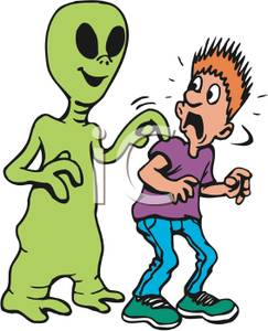 243x300 Green Alien Tapping A Scared Man On The Shoulder