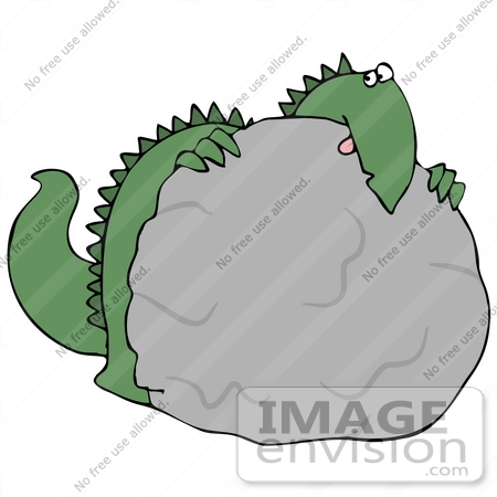 450x450 Cliprt Graphic Of Scared Green Dinosaur Crouching Behind