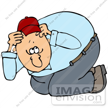 450x450 Clip Art Graphic Of A Scared Man Ducking And Covering His Head