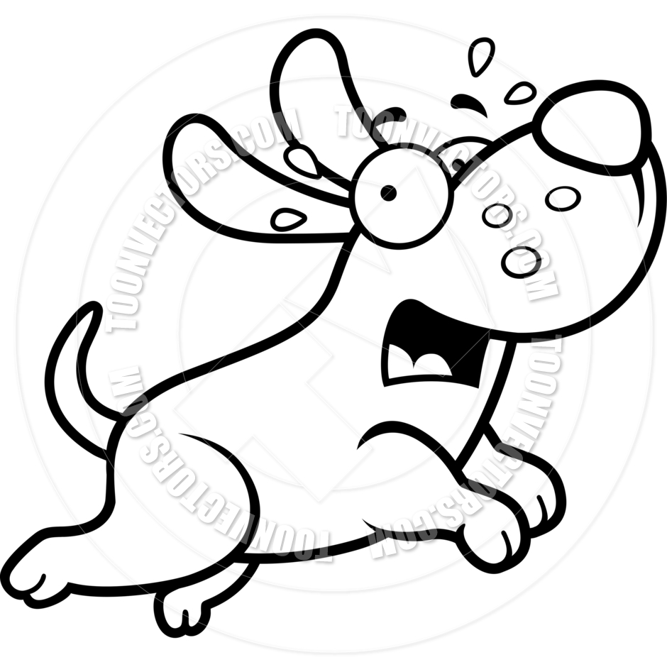 940x940 Cartoon Puppy Dog Scared (Black And White Line Art) By Cory Thoman