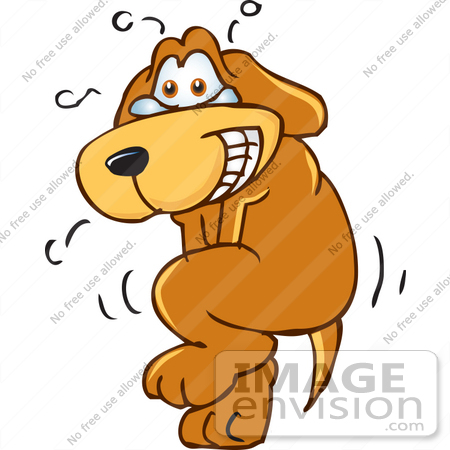 450x450 Clip Art Graphic Of A Brown Hound Dog Cartoon Character Trying