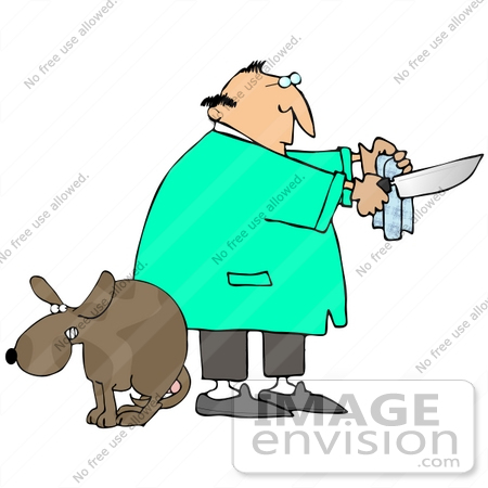450x450 Clip Art Graphic Of A Male Caucasian Veterinarian Cleaning A Knife