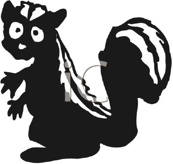 350x331 Picture Of A Cartoon Skunk With A Scared Face Holding Out His