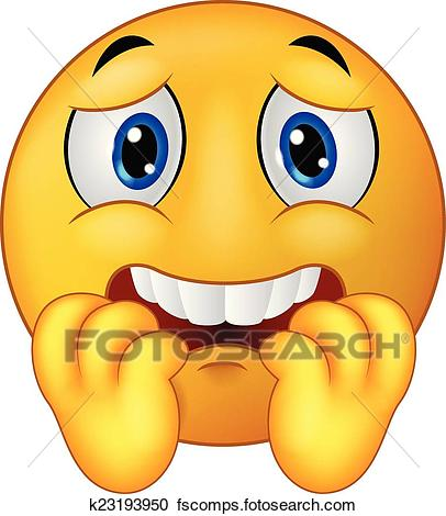 406x470 Clipart Of Scared Emoticon Smiley Cartoon K23193950