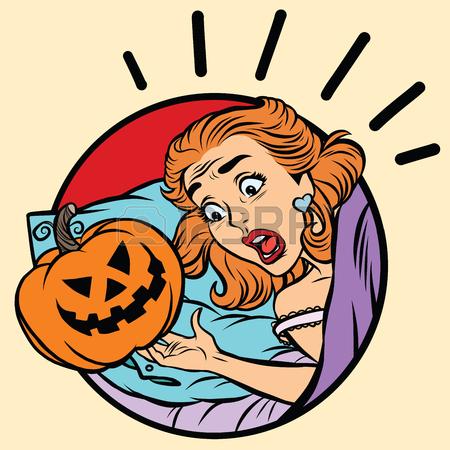 450x450 Girl Scared Halloween Evil Pumpkin, Pop Art Comic Illustration