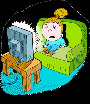 347x400 Image Scared Girl Watching Tv