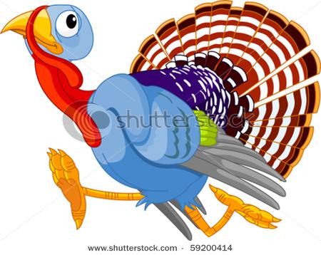 450x358 Cartoon Turkey Running, Isolated On White Background