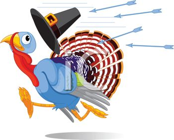 350x282 Picture Of A Scared Turkey Running Away From Arrows Being Shot