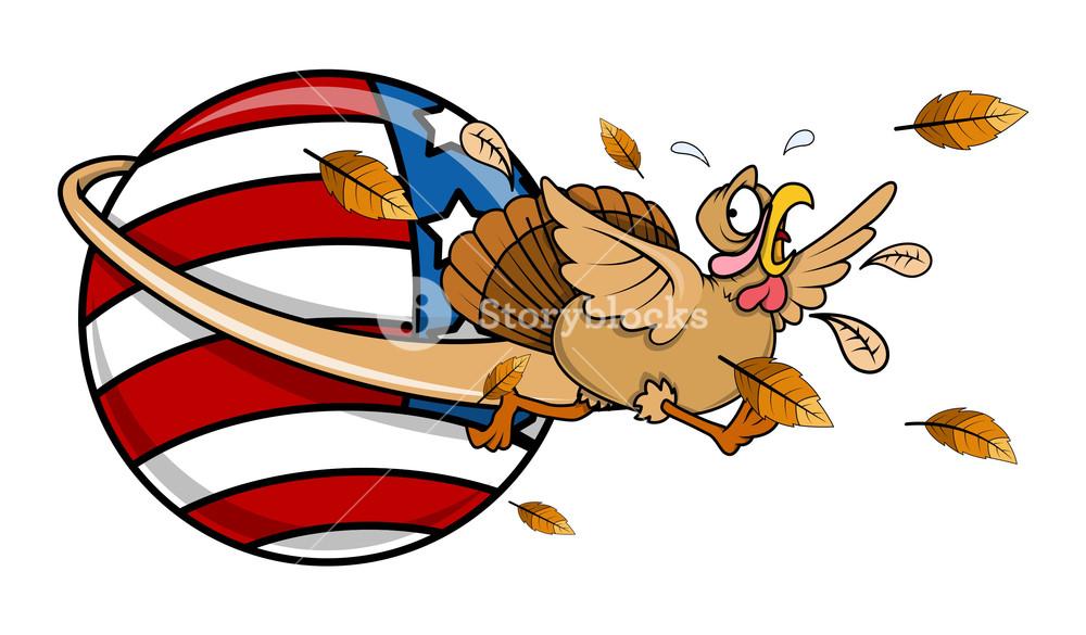 1000x585 Scared Turkey Running Around America Globe Royalty Free Stock