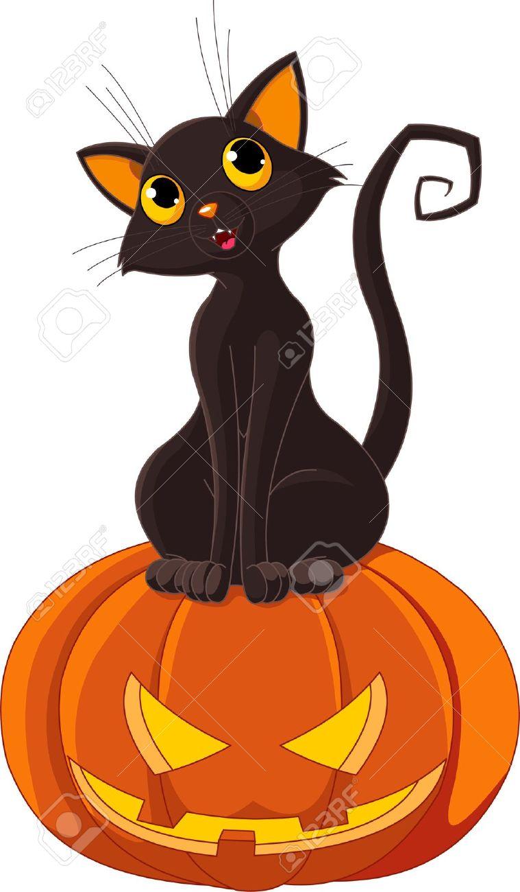 759x1300 Black Cat Sitting On Halloween Pumpkin Royalty Free Cliparts