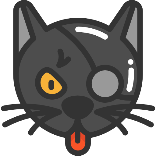 512x512 Black Cat, Halloween, Scary, Scared, Cat Icon
