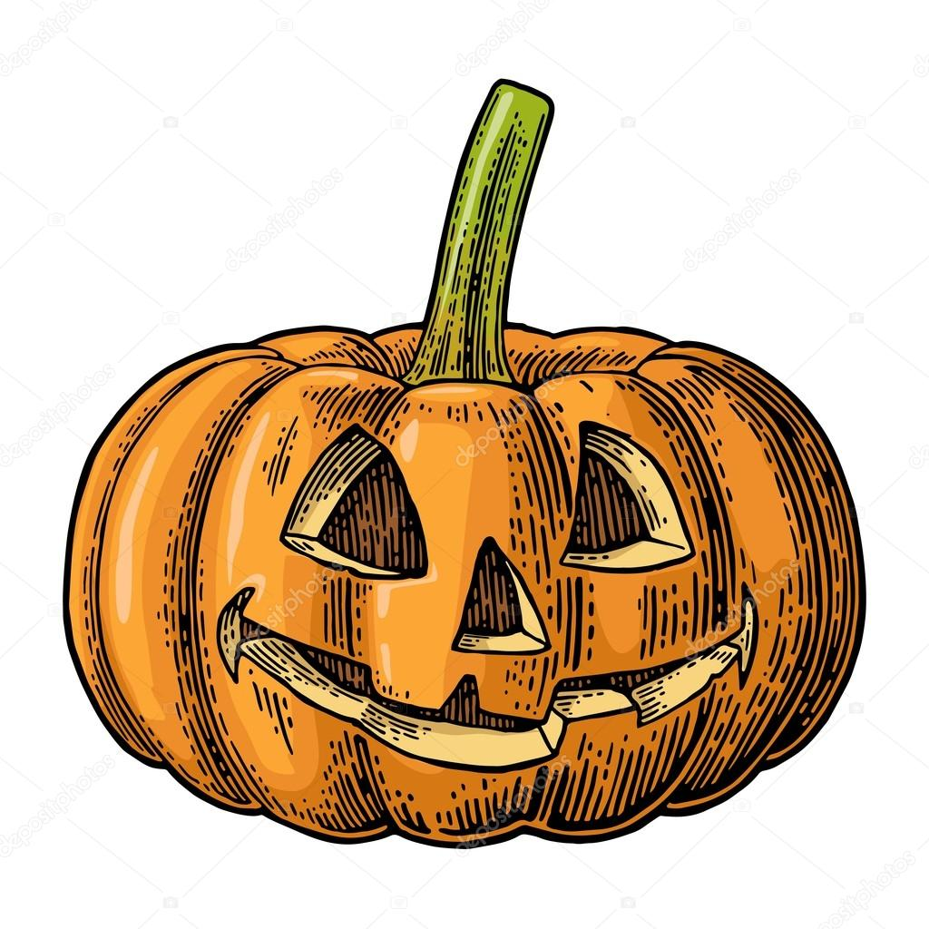 1024x1024 Halloween Pumpkin With Scary Face. Vector Vintage Engraving
